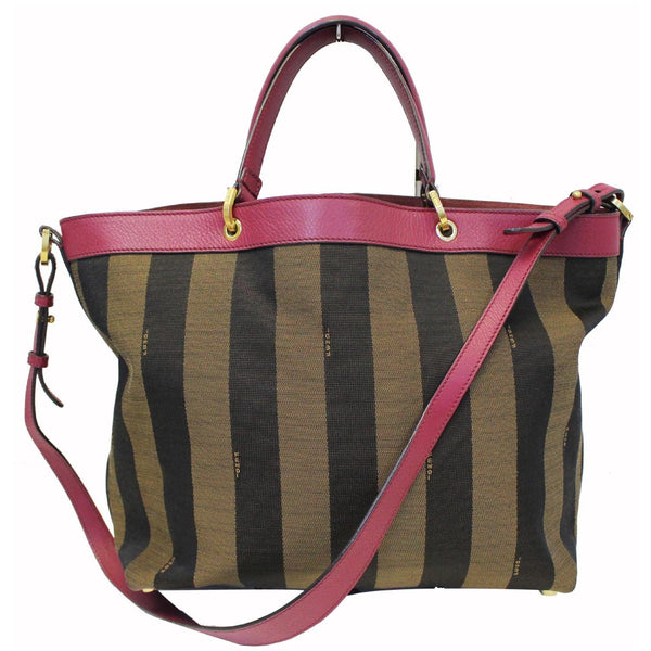 FENDI Tobacco Pequin Stripe Canvas Large Tote Bag-US