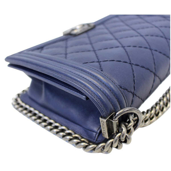 Chanel New Medium Boy Flap Calfskin Double Stitch Bag Navy for sale