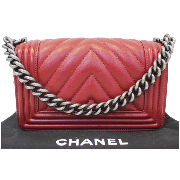 CHANEL Small Chevron Boy Calfskin Leather Flap Bag Burgundy