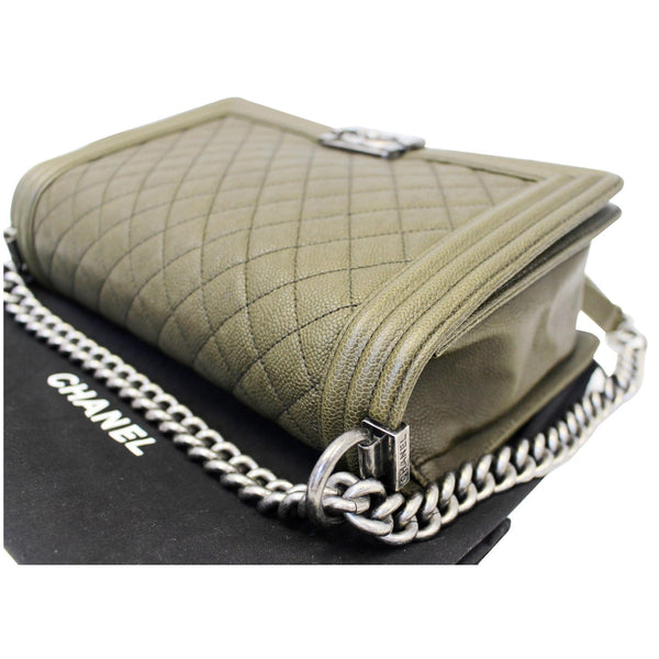Chanel Boy Medium Flap Caviar Leather Shoulder Bag -olive green