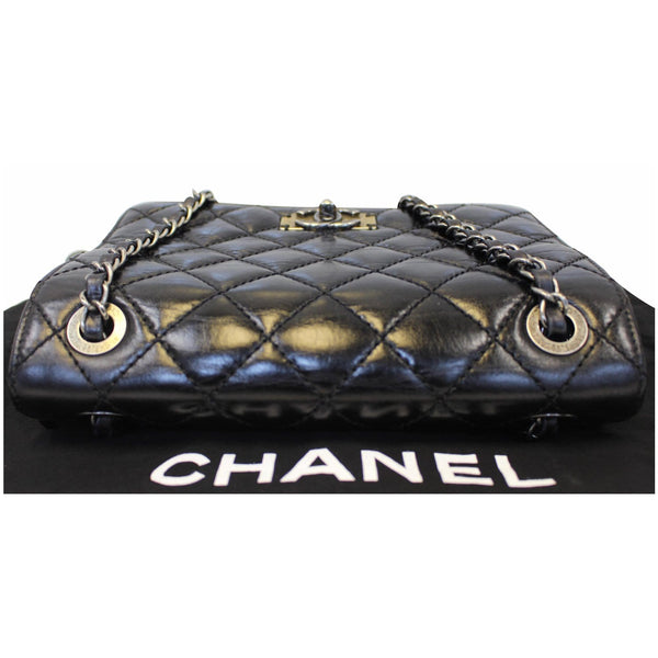 Chanel Flap CC Quilted Leather Crossbody Bag Black - bottom view