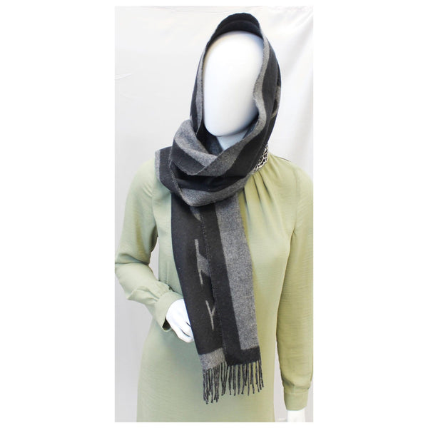 Burberry Scarf Logo Text Cashmere Black & Grey - front view