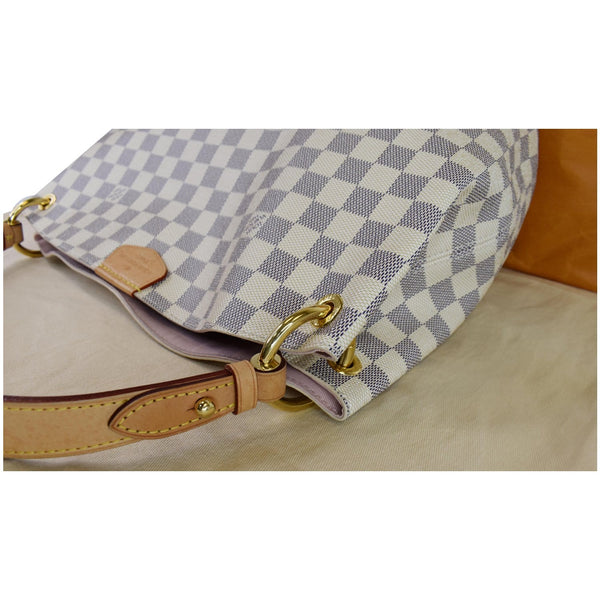 Louis Vuitton Graceful PM Damier Azur Shoulder Bag - white checks