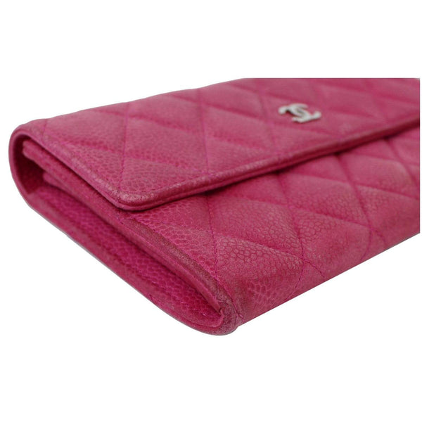 Chanel CC Caviar Leather Long Wallet Pink | top preview