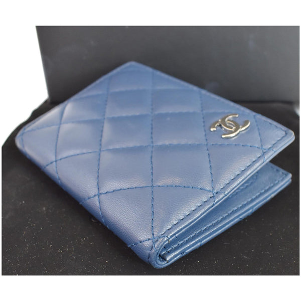 Chanel Classic Folded Leather Card Holder Wallet Blue color