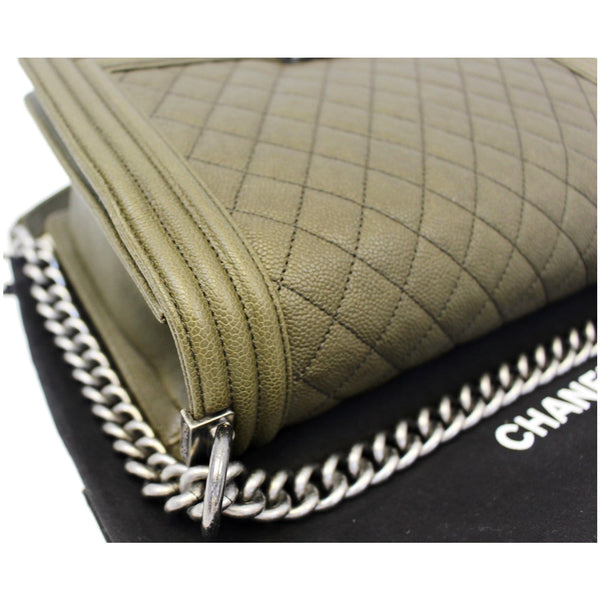 Chanel Boy Medium Flap Caviar Leather Shoulder Bag - chanel chain