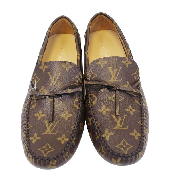LOUIS VUITTON Arizona Moccasin Monogram Canvas Men's Shoes Loafers