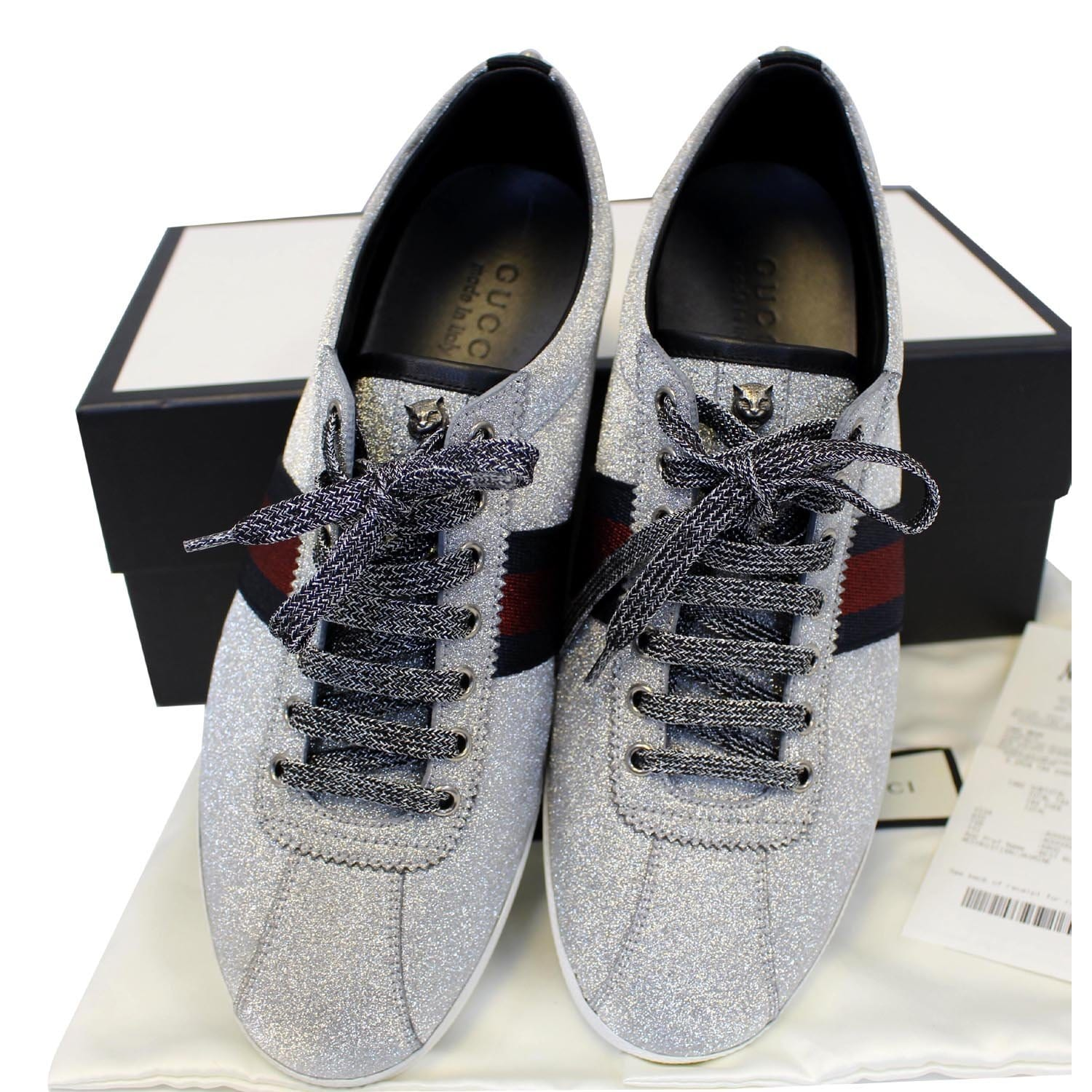 a95d93057646 GUCCI Silver Glitter Web sneaker with Studs Size 11-US