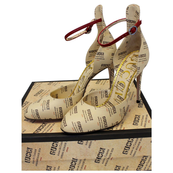 Gucci Invite Stamp Print Apollo Pumps Beige Size 38 - full view