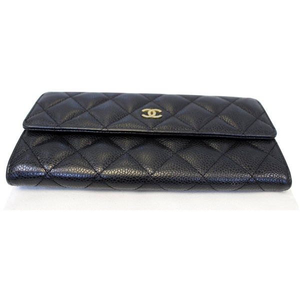 Chanel Gusset Flap Caviar Wallet Black