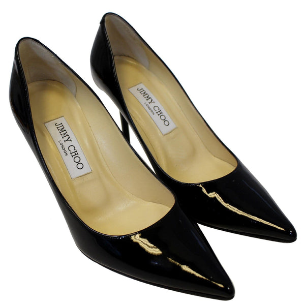 JIMMY CHOO Pointy Toe Patent Leather Pumps Black US 7