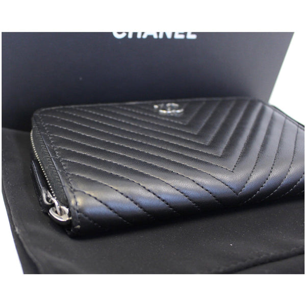 Chanel Wallet Lambskin Chevron Quilted Zip - front view