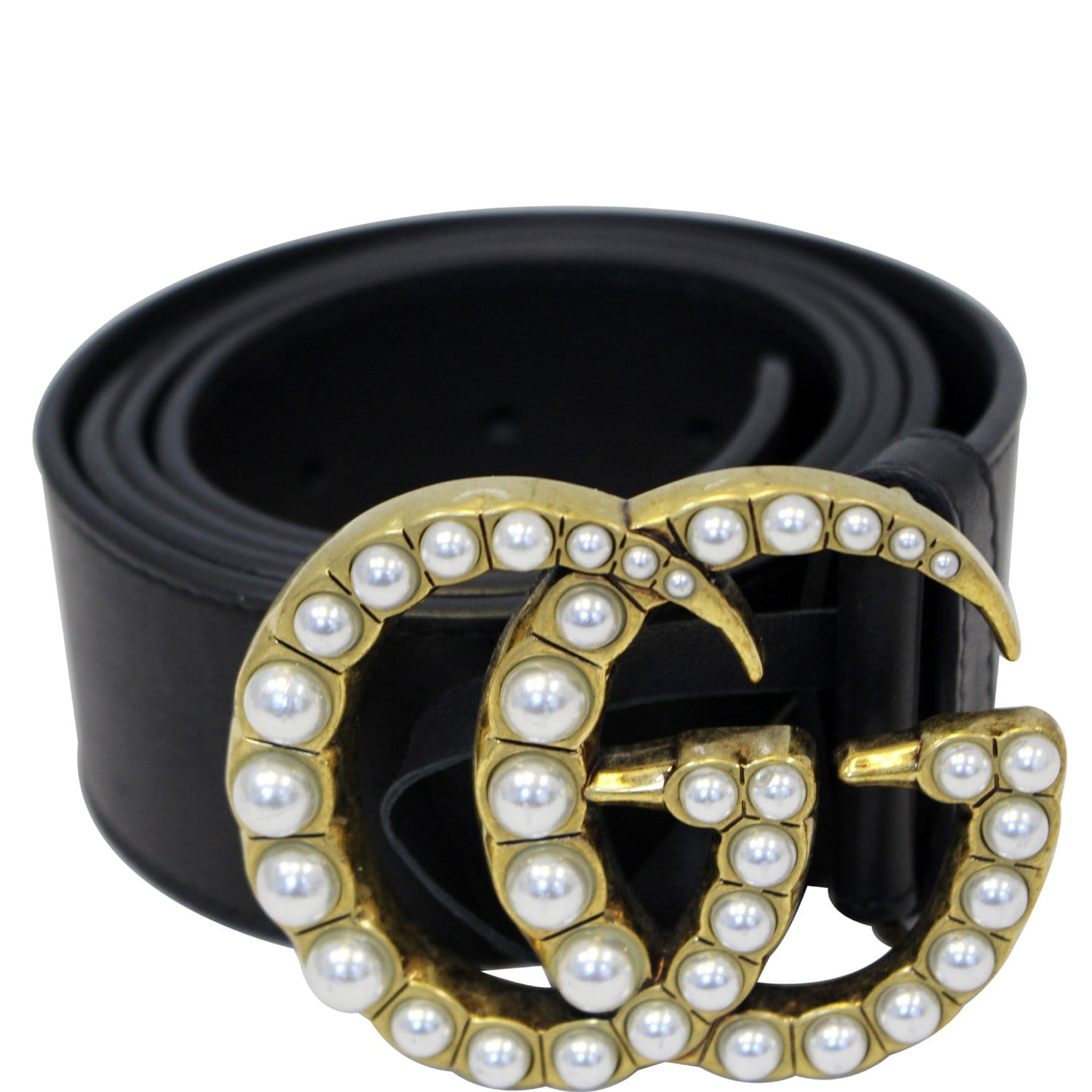 cd35a565b8a GUCCI Pearl Double G Black Leather Belt Size 44-US