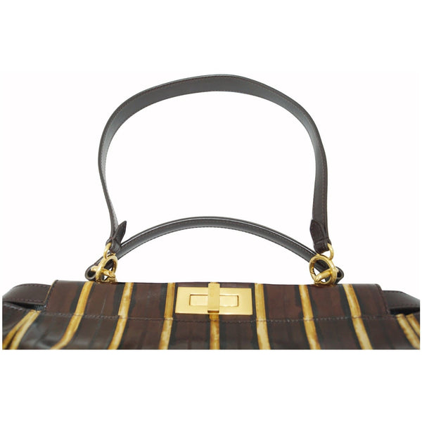 FENDI Peekaboo Striped Eel Skin Leather Shoulder Bag Brown