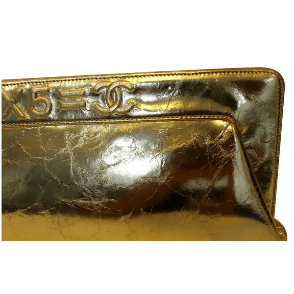 CHANEL Tweed We Need Metallic Lambskin Leather Clutch Gold-US