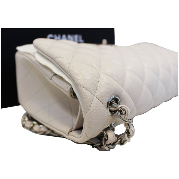 CHANEL Classic Jumbo Double Flap Caviar Leather White Shoulder Bag