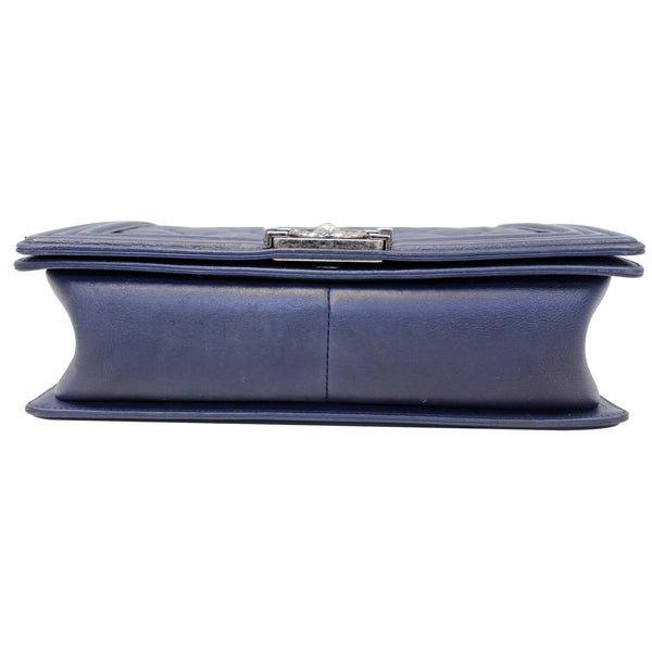 Chanel New Medium Boy Flap Calfskin Double Stitch Bag Navy bottom