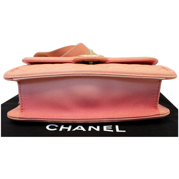 Chanel Sunset On The Sea Caviar Leather Small Flap bottom view
