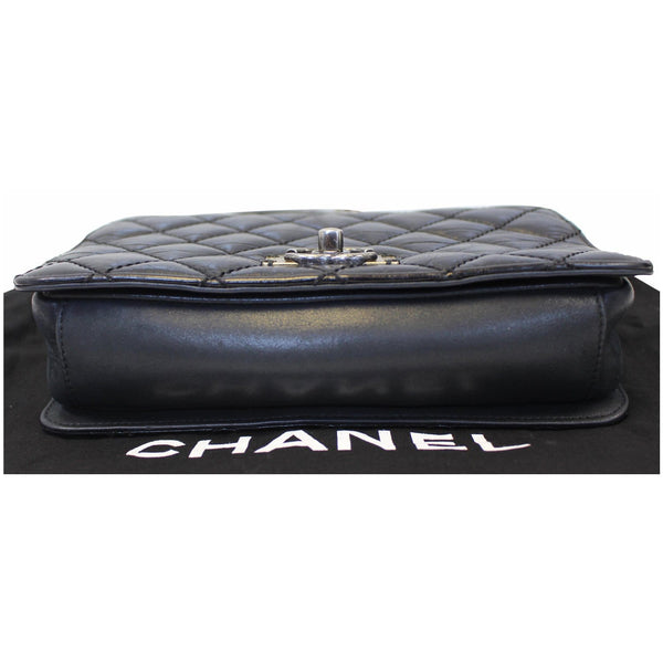 Chanel Flap CC Quilted Leather Crossbody Bag Black - front view