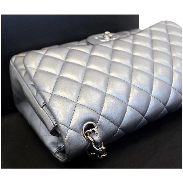 CHANEL Jumbo Calfskin Leather Double Flap Silver Shoulder Bag