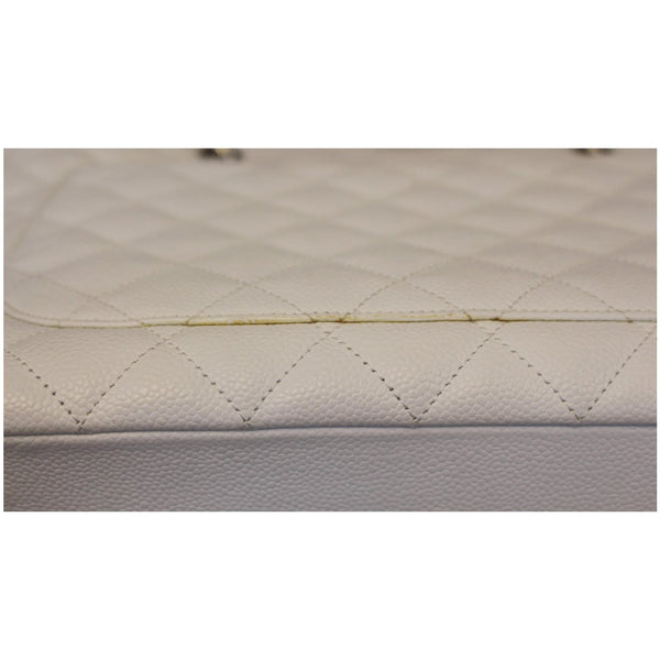 Chanel Tote Bag Grand Shopping Caviar Leather in White interior