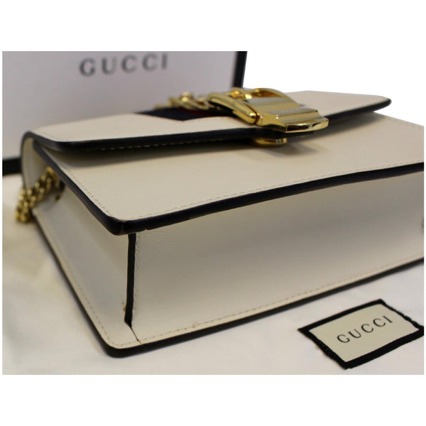 GUCCI Super Mini Sylvie Calfskin Leather Chain Crossbody Bag White