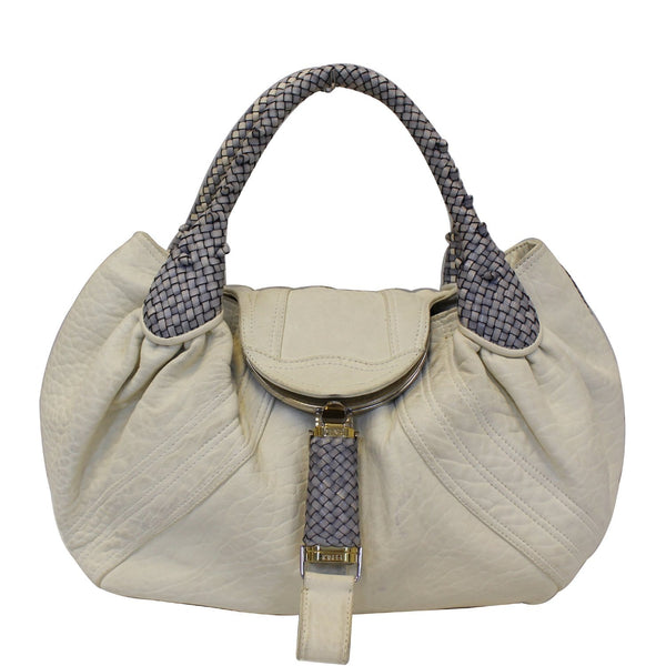 FENDI Spy White Leather Satchel Bag-US