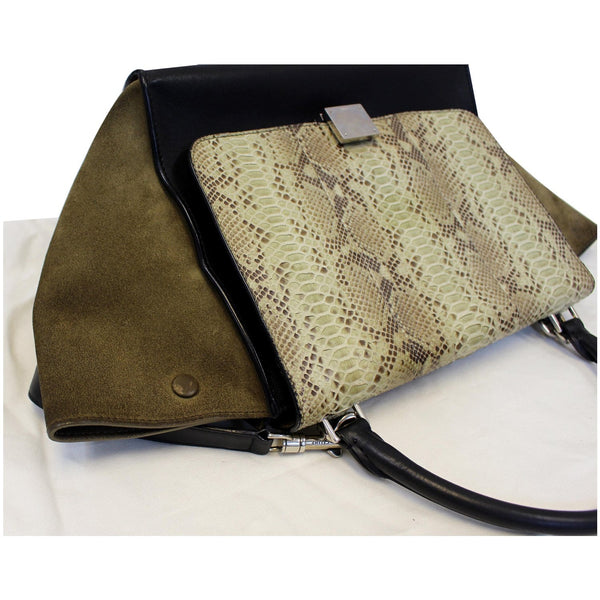 Celine Python & Black Leather Small Trapeze Bag - Top view