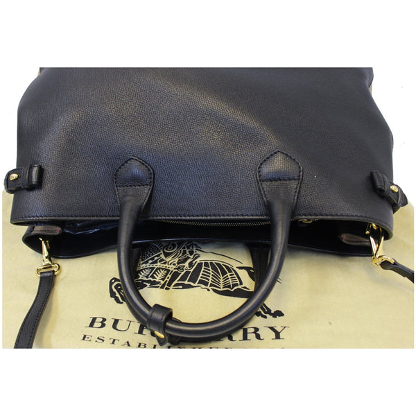 BURBERRY Large Banner Calf Leather House Check Tote Bag Black