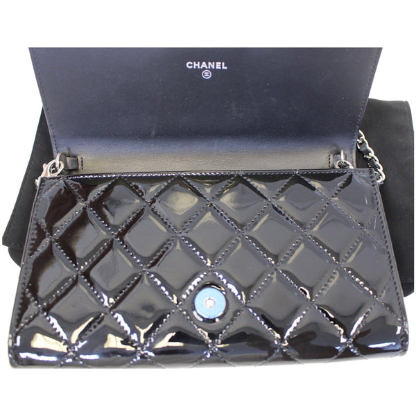 Chanel Flap Shoulder Bag Patent black Leather full view