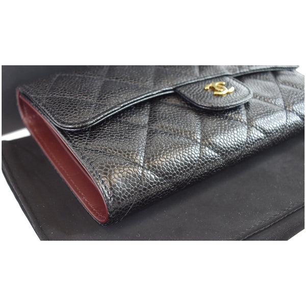 Chanel Large Flap Quilted Caviar Leather Wallet side preview