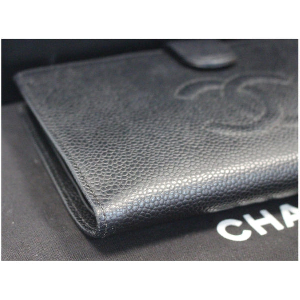 CHANEL Long Bi-Fold Caviar Leather Wallet Black
