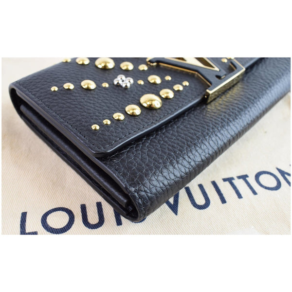 Louis Vuitton Capucines Studded Wallet Black color