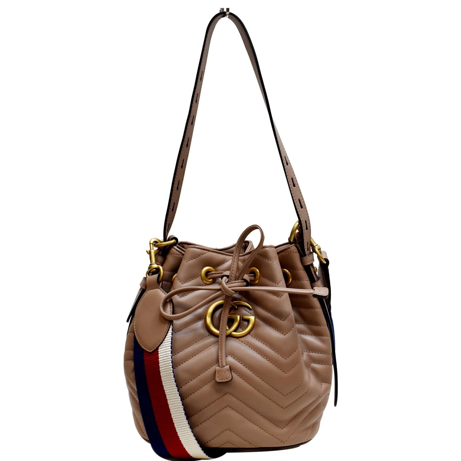 GUCCI Matelasse GG Marmont Quilted Bucket Shoulder Bag Nude 476674