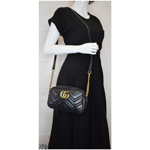 GUCCI GG Marmont Matelasse Small Leather Crossbody Bag Black