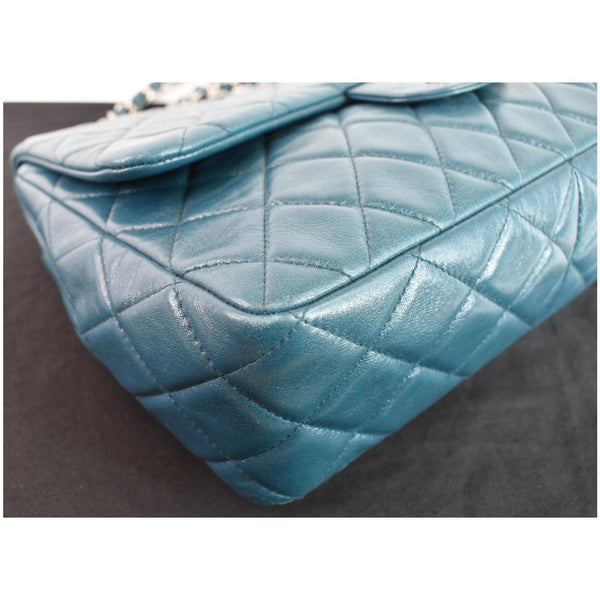 CHANEL Jumbo Single Flap Lambskin Leather Crossbody Bag Teal