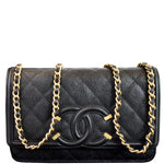 CHANEL CC Filigree Small Flap Caviar Leather Shoulder Bag Black