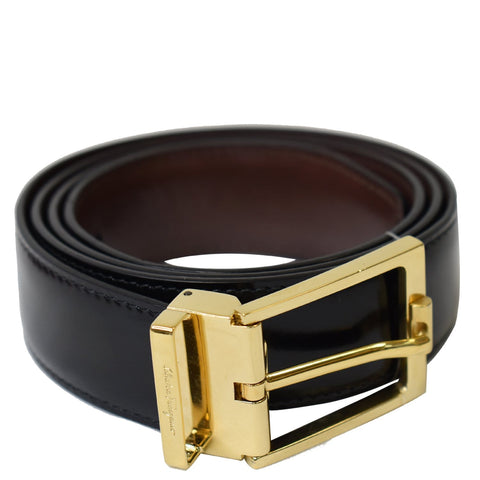 SALVATORE FERRAGAMO Gancini Buckle Reversible Belt Black Size 36