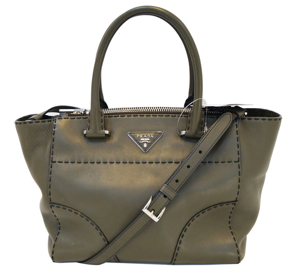 PRADA City Calf Leather Medium Topstitched Twin-Pocket Tote Bag - Final Call
