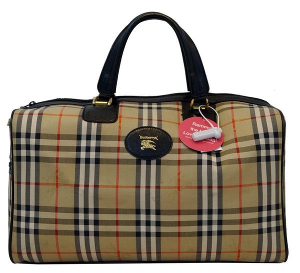 Burberry Nova Check Canvas Leather Black Beige Travel Bag