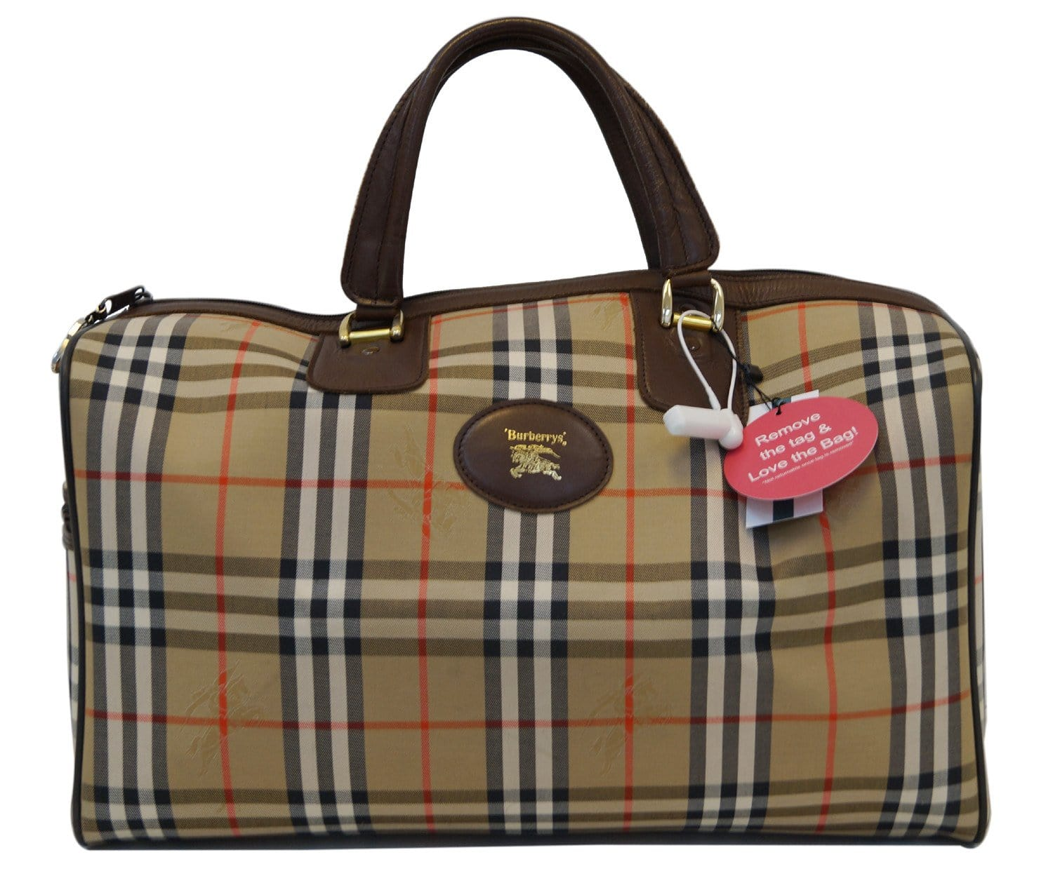 bf171551f35c Authentic Burberry Nova Check Canvas Leather Brown Beige Travel Bag TT1171