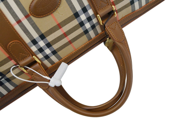 Burberry Nova Check PVC Leather Brown Beige Travel Bag