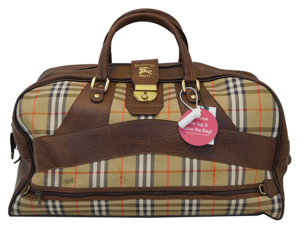 Burberry Travel Bag Nova Check Brown Leather - front view