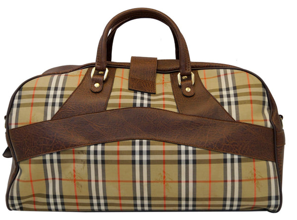 Burberry Travel Bag Nova Check Brown Leather - leather handles