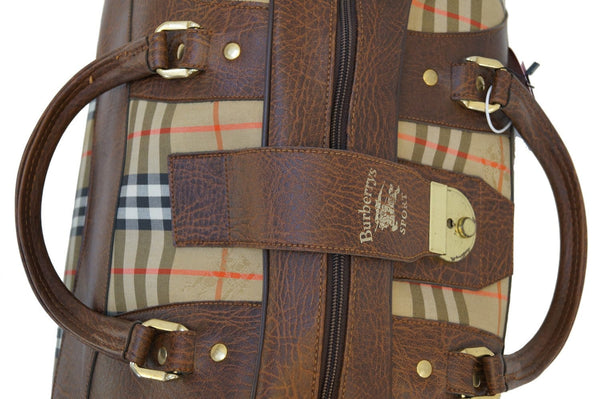 Burberry Travel Bag Nova Check Brown Leather - leather strip