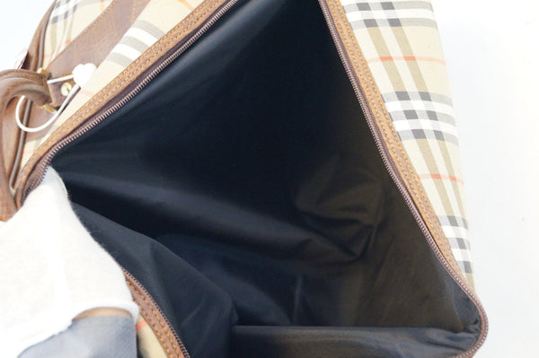 Burberry Travel Bag Nova Check Brown Leather - inside look
