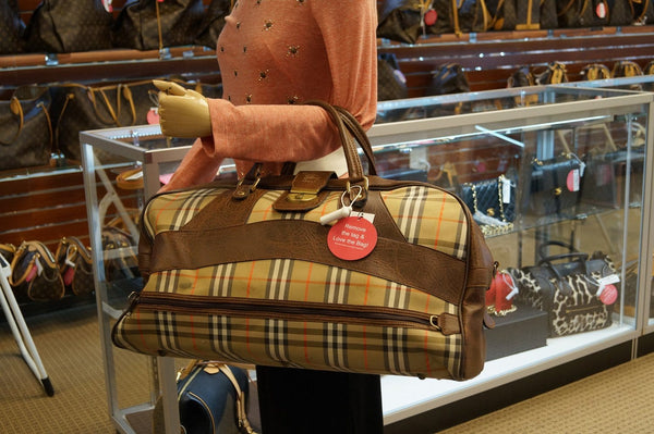 Burberry Travel Bag Nova Check Brown Leather - shop