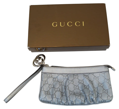 Authentic GUCCI Guccissima Interlocking G Wristlet Silver E3199
