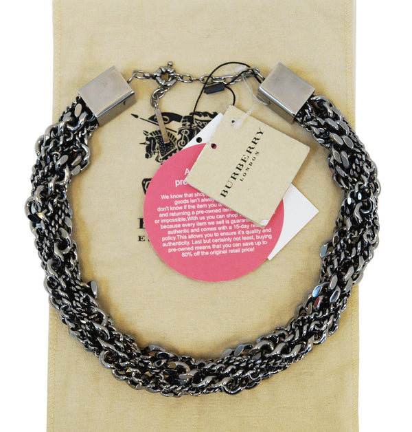 Burberry Multi Chain Gunmetal Necklace Adjustable - Final Call