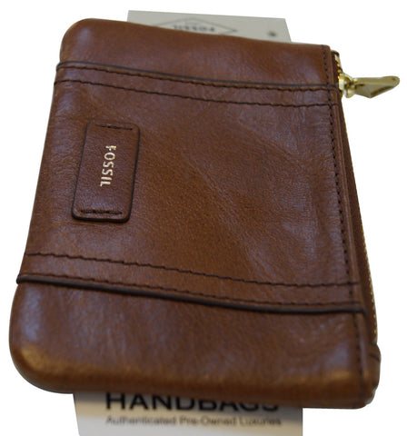 FOSSIL Leather Brown Coin Purse Zippy Wallet